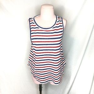 Madewell Tank red white blue Large 100% Linen